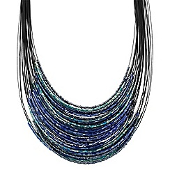 The Collection - Mixed blue bead illusion necklace