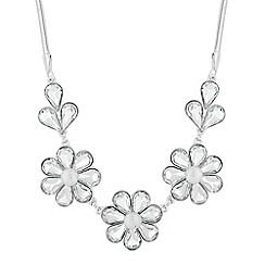 The Collection - Silver crystal triple flower necklace