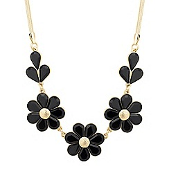 The Collection - Jet and gold triple flower necklace