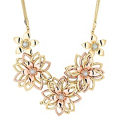 The Collection - Pearl and crystal 3-d flower necklace
