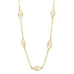The Collection - Long cream pearl teardrop link necklace