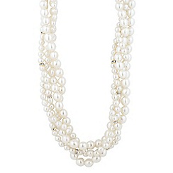 The Collection - Statement pearl and crystal rondel multi row necklace