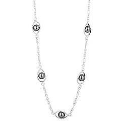 The Collection - Long grey pearl teardrop link necklace