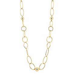 The Collection - Gold ball and textured link long necklace