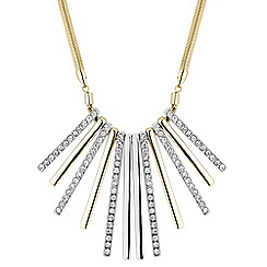 The Collection - Two tone polished and crystal stick necklace