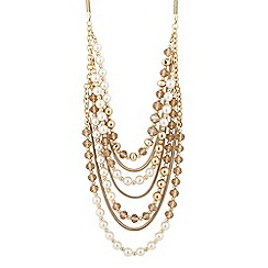 The Collection - Pearl and mixed gold bead multi row necklace