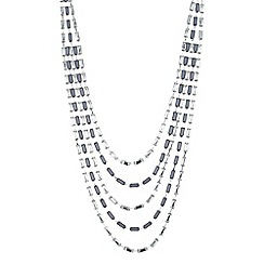 The Collection - Grey and crystal baguette multi row necklace