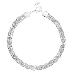 The Collection - Silver snake chain plaited necklace