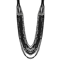 The Collection - Long jet beaded multi row necklace