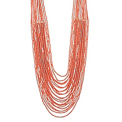 The Collection - Long coral bead multi row necklace