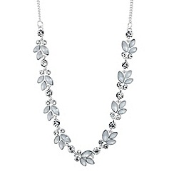 The Collection - Grey navette leaf link necklace
