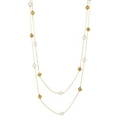 The Collection - Long pearl and gold spiral ball necklace