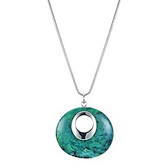 The Collection - Green disc long pendant necklace