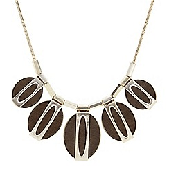 The Collection - Oval wood statement necklace
