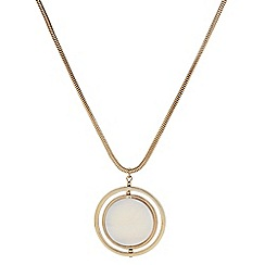 The Collection - Circle shell polished long pendant