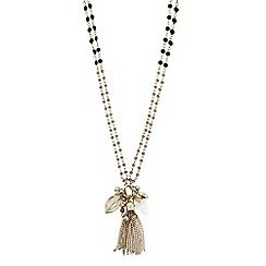 The Collection - Beaded tassel shell charm necklace