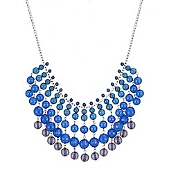 The Collection - Blue graduated bead drop necklace