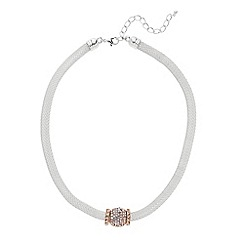 The Collection - Two tone pave ball mesh necklace