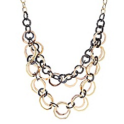 The Collection - Black and gold double row link necklace