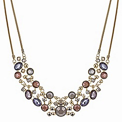 The Collection - Gold stone cluster statement necklace