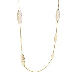 The Collection - Gold hammered oval long necklace