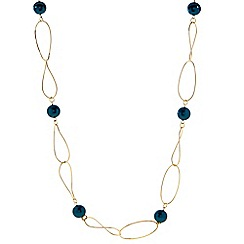 The Collection - Green pearl linked chain long necklace