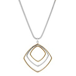 The Collection - Two tone square drop necklace