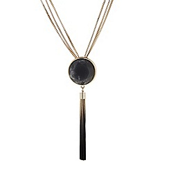 The Collection - Grey marble effect stone and tassel necklace