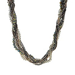 The Collection - Khaki plaited beaded necklace