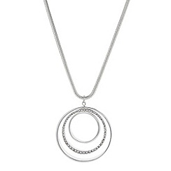 The Collection - Silver pave three ring long pendant necklace