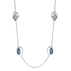 The Collection - Silver floating stone twist long necklace