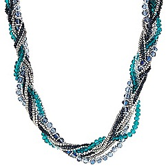 The Collection - Blue beaded plait necklace