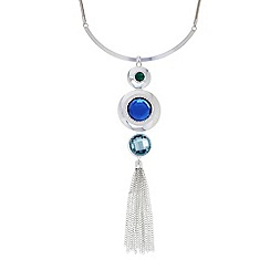The Collection - Blue stone tassel torque necklace