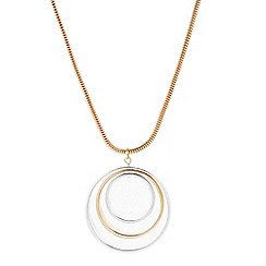 The Collection - Two tone triple ring long pendant necklace