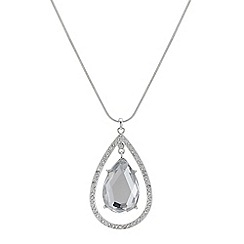 The Collection - Silver crystal floating peardrop pendant necklace