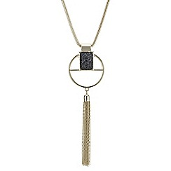 The Collection - Druzy crystal open circle tassel necklace