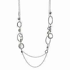 The Collection - Silver geometric multi circles multi row necklace