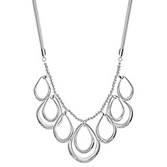 The Collection - Silver pave peardrop link necklace