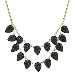 The Collection - Black druzy crystal double row necklace
