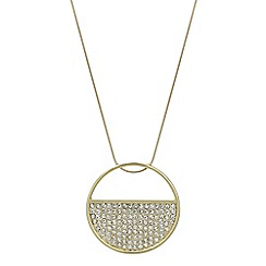 The Collection - Gold crystal open circle long necklace