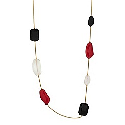 The Collection - Red chunky stone rope necklace