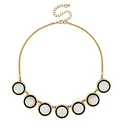 The Collection - Black mother of pearl disc necklace