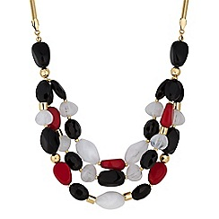 The Collection - Red chunky stone multi layer necklace