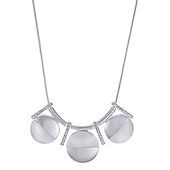 The Collection - Silver pearl half disc pave necklace