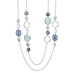 The Collection - Blue crystal hoop multi row necklace