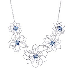 The Collection - Blue crystal silver wire flower necklace