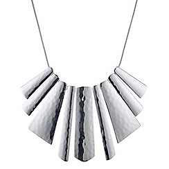 The Collection - Silver textured graduated stick necklace