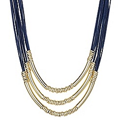 The Collection - Blue multi row gold tube necklace