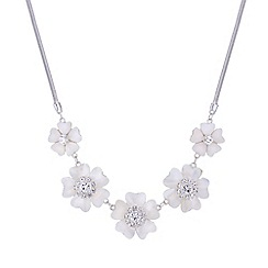 The Collection - Cream pearl crystal floral necklace