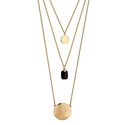 The Collection - Black square multi row necklace